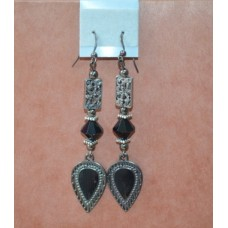 Black crystal/oxidized metal earrings